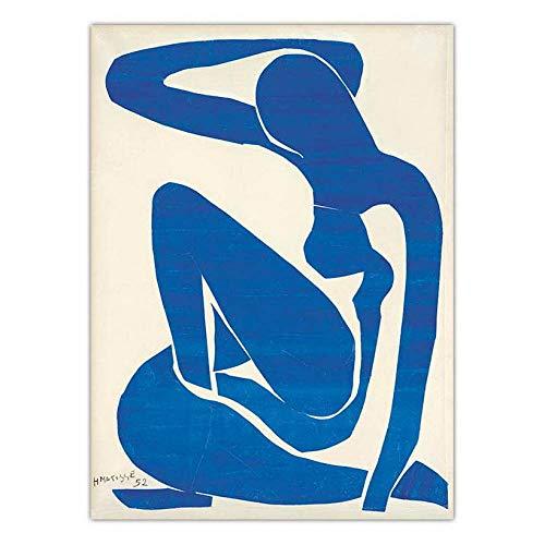 Kunstdruck Auf Leinwand,Hippie Psychedelische Kunst Drucken Wandbild, Henri Matisse Blue Sitzen Lange Haare Frau, Große Drucken Stoff Wandteppiche, Für Zu Hause Wohn- Schlafzimmer Fenster Einrichtu