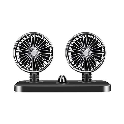 FairySu Ventilador de Doble Cabezal para automóvil Velocidad de Giro Variable de 360 Grados Ventilador de enfriamiento automático de 5 Palas