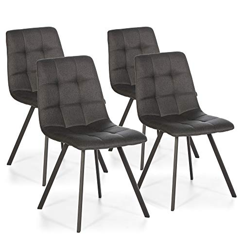 VS Venta-stock Set de 4 sillas Comedor Mila tapizadas Gris Oscuro, certificada por la SGS, 58 cm (Ancho) x 45 cm (Profundo) x 90 cm (Alto)