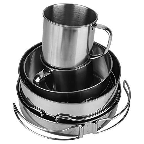 GAESHOW - Juego de ollas de Cocina de 8 Piezas, Cuenco portátil de Acero Inoxidable para Barbacoa, Utensilios de Cocina para Acampar, Juego de ollas Plegables para Exteriores