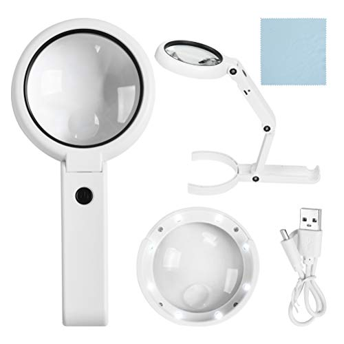 5X 11X Leselupe mit Licht - Tragbare LED Lupe Handlupe Vergrößrungglas Lesevergrößerungsglas für Senioren, Lesen, Inspektion, Hobby, Handwerk, Uhrmacher, Münzen, Objektiv Schmuck