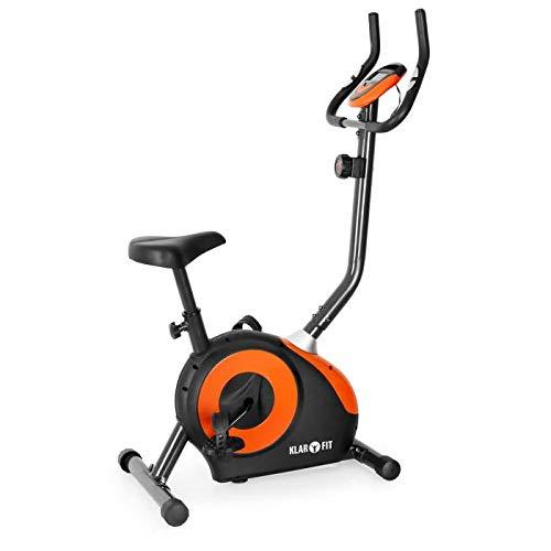 Klarfit MOBI-FX-250 - Bicicleta estática, Monitor de Entrenamiento, Pulsómetro, Pedales Antideslizantes, Asiento ergonómico, Empuñaduras Acolchadas, Soporta hasta 100kg, Naranja