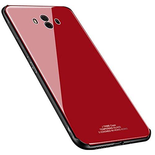 Kepuch Quartz Case Capas TPU &Voltar (Vidro Temperado) para Huawei Mate 10 - Vermelho