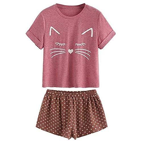 JFCDB Nachthemd Dames Meisjes Zomer Korte mouwen Pyjama Set Leuke Meow Kat Los T-shirt Tops Polka Dot Ruches Shorts Nachtkleding Huis Loungewear, rood, S
