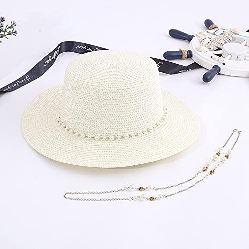 JSJJAUJ Sombrero para el Sol Verano Mujeres Estilo Coreano Casual sombrilla Ancho Alza Plana Plana al Aire Libre Vacaciones Playa Sombreros de Paja Lad Cadena Cadena Sol Sombrero