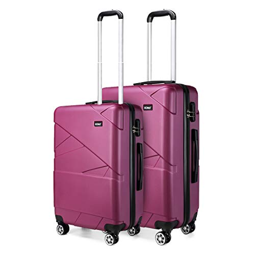 Kono 2 Pcs Set Lightweight Suitcase Carry on Luggage 20'+24' Hard Shell Trolley with Combination Lock (Purple)