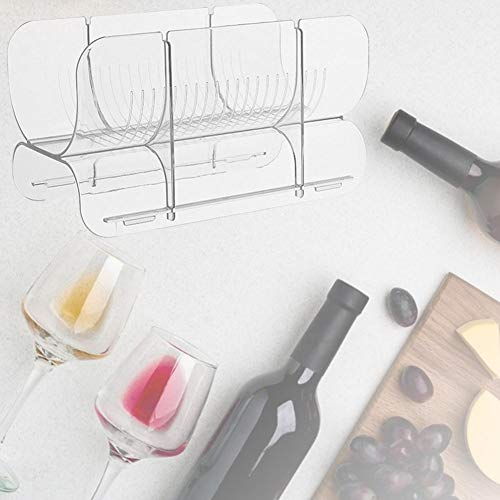 Niyin204 - Soporte para vino de acrílico transparente apilable para cocina, guardamanos y frigorífico, almacenamiento ideal para vino, champán, cerveza, agua en botella de alta calidad