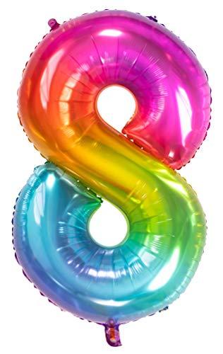 Folat 63248 Folienballon Yummy Gummy Rainbow Ziffer/Zahl 8-86 cm