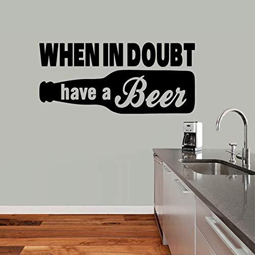 Lustige Bar Wandaufkleber Zitat, wenn im Zweifel haben ein Bier Mann CaveKitchen Dekor Wandtattoo Vinyl Home Bar Dekoration Wandbild 91X42cm
