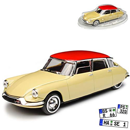 Citroen DS19 Limousine Beige mit Dach in Rot 1955-1968 1/43 Solido Modell Auto mit individiuellem Wunschkennzeichen