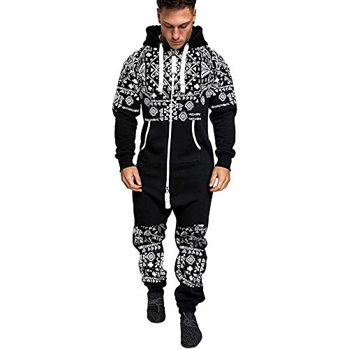 Topassion-Mens Christams 3D Printed Tracksuit Mens Onesies Full Zip Jumpsuit Playsuit All in One Hoodie Cotton Rich Print Tracksuit Casual Suit Xmas Autumn Winter Sportswear Black