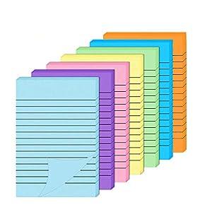 Notas adhesivas, notas autoadhesivas de 7 colores vivos, 10 cm x 15 cm, con forros de colores, blocs de notas adhesivas…