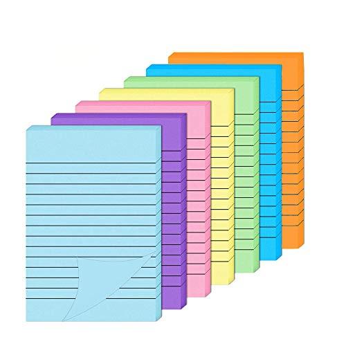 Notas adhesivas, notas autoadhesivas de 7 colores vivos, 10 cm x 15 cm, con forros de colores, blocs de notas adhesivas para oficina, casa y escuela