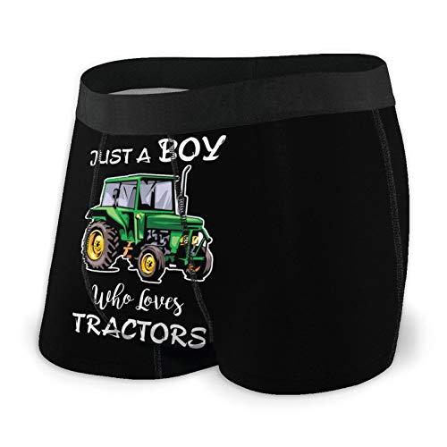 Nuwcense Herren-Boxershorts, enganliegend, für Jungen, der Traktoren liebt, schnell trocknende Unterwäsche Gr. L, Schwarz