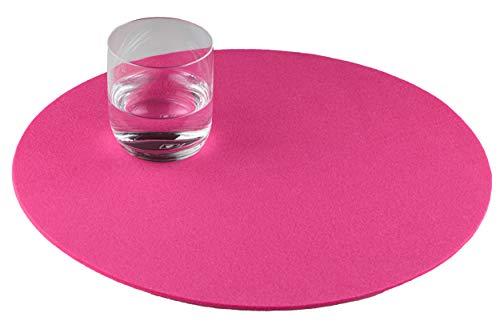 GILDE Filz Platzset Tischset rund, 4er Set, waschbar, Handwerk (pink)