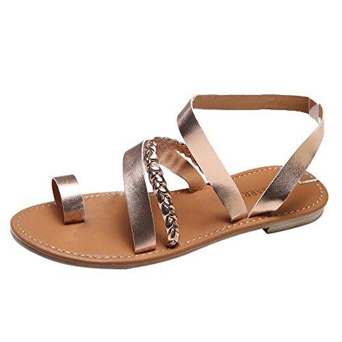 TUDUZ Damen Sommer Strand Outdoor Riemchen Gladiator Low Flat Heel Flip Flops Strand Sandalen Antirutsch Schuhe (41 EU, Roségold)