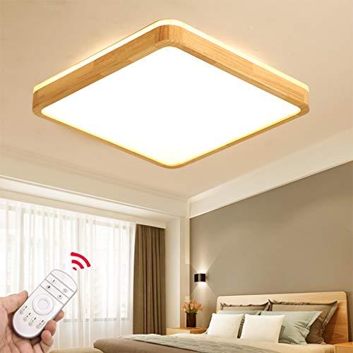 LED Deckenleuchte Eckig Holz Deckenlampe Dreistufig Dimmbar mit Fernbedienung Top 360° Glühen Stimmungsbeleuchtung Natürlichem Holzlampe Dekorativ Licht Wohnraumleuchte,40cm,Dimming