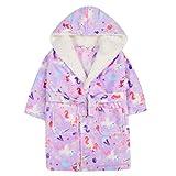 Albornoz de felpa con capucha para niñas y niños, suave y acogedor.
