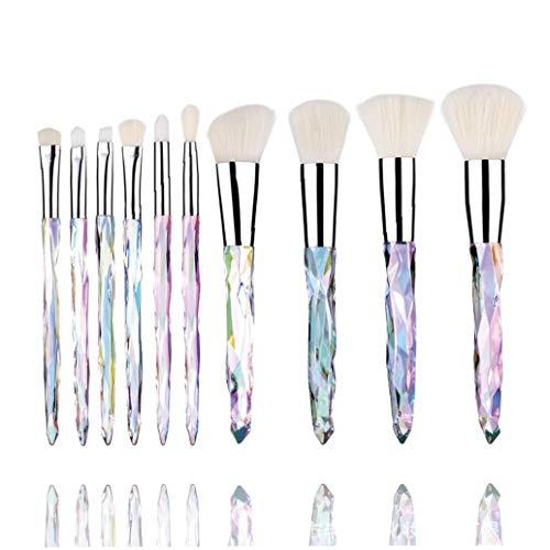 Pinceaux cristal poignée colorée diamant brosse cosmétiques Eye Shadow Highlight Unicorn Brosse 10pcs / set