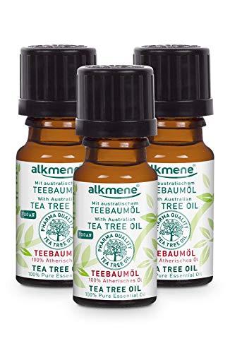 alkmene 100% reines ätherisches Teebaumöl - veganes Teebaum Öl ohne Silikone, Parabene & Mineralöl - australisches Teebaumoel ideal für Haut & Haar - Tea Tree Oil im 3er Vorteilspack (3x 10 ml)