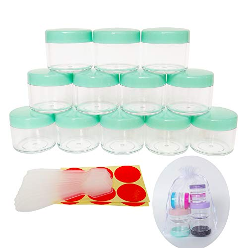 GreatforU 12pack 20 Gram 20ml Jars, Small Cosmetic Sample Empty Container, Plastic Round Pot GREEN Screw Cap Lid, Tiny 20g Bottle for Makeup, Eye Shadow, Powder, Jewelry, Sunscreens, Creams, Lip Balms