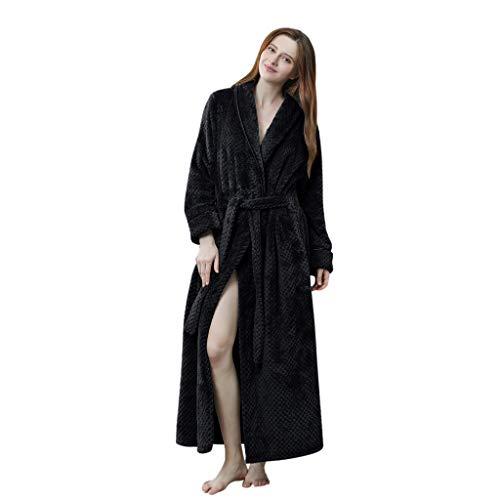 Susenstone Peignoir Femme Polaire Long Flanelle Peignoir De Bain Homme Eponge Pas Cher Robe De Chambre Chaud Epais pour Hiver (L(EU38), Femme-Noir)