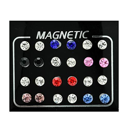 Karrychen 12 Pares de Pendientes magnéticos de Diamantes de imitación no Perforados, Pendientes de Clip, joyería