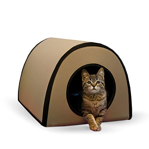 K&H Pet Products Mod Thermo-Kitty Heated Shelter Tan 21' x 14' x 13' 25W Great for Outdoor Cats