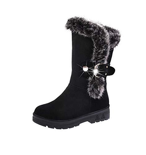 TUDUZ Damen Kurzschaft Stiefel Slip-On weiche Schneeschuhe runde Zehe flache Winter Pelz Stiefeletten