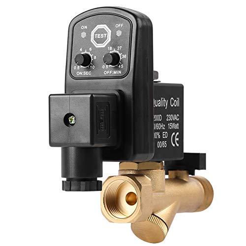 G1/2 DN15 Automatisches zeitgesteuertes Kondensatablassventil, elektronisches zeitgesteuertes Lufttank-Wasser-Ablassventil für Kompressor AC110V/AC230V(AC230V)