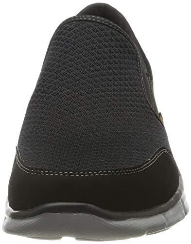 Skechers Equalizer-Persistent, Zapatillas sin Cordones Hombre, Negro (Bkgy Black Mesh/Duraleather/Trim), 42 EU