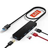 Aceele USB Hub 3.0 Splitter with 4ft Extension Long Cable Cord, 4-Port Extra Slim Multiport Expander for Desktop Computer PC, PS4, Laptop, Chromebook, Surface Pro 3, iMac, Flash Drive Data and More