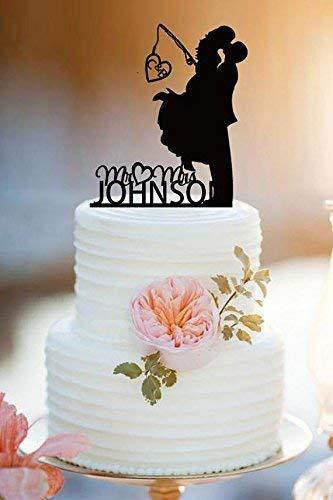 JeremyHar75 Tortenaufsatz für Brautpaar mit Angelstangen, personalisierbar, Mr and Mrs, Hochzeitstortendekoration, Geschenk für Paare, Hochzeitsgeschenke