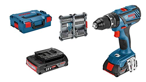 Bosch Professional 18V System Akku Schlagbohrschrauber GSB 18V-28 (max. Drehmoment: 63 Nm, inkl. 35tlg. Impact Zubehör-Set, 2x 2,0 Ah Akku, in L-BOXX 136) - Amazon Edition