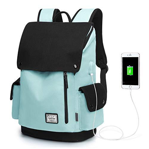 Wind Took Canvas Backpack Daypack 15 Zoll Laptop Rucksack Schulrucksack Tagesrucksack mit USB Anschluss für Uni Büro Alltag Freizeit, Blau