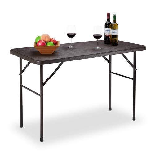 Relaxdays tuintafel, houtlook, hoekige klaptafel, kunststof, metaal, balkontafel, HxBxD: 74 x 120 x 60 cm, bruin