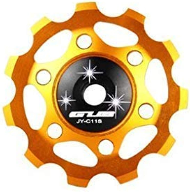 Cycling Rear Derailleur Guide Wheel Bicycle Rear Mech Derailleur Pulley Wheel Aluminum Alloy 11Tgold