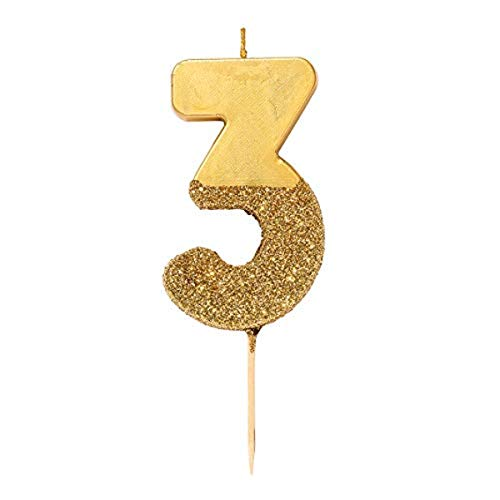 We Heart Birthdays Glitter Number Candle 3, Gold