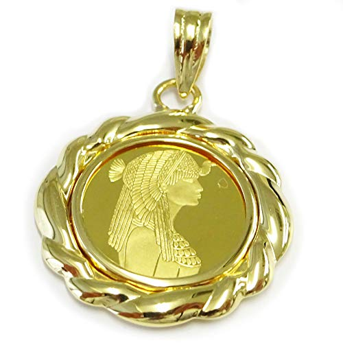 [あなたと私の宝石箱] ペンダントトップ 純金 クレオパトラコイン 1/25oz PAMP SUISSE社 FINE GOLD 999.9 【ギフトラッピング済み】