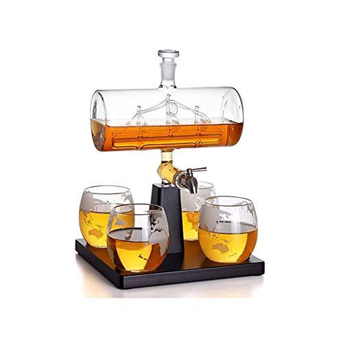 HLR Vasos de Whisky Jarra de Whisky Decantador de Whisky con Nave Antiguo El decantador de Buques de Vino con 4 Gafas de Globo dispensador de Bebidas