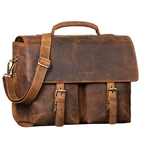 STILORD 'Jeff' Aktentasche Leder 15 Zoll Vintage Business Umhängetasche für Große DIN A4 Ordner Herren Bürotasche mit Zweifachteilung, Farbe:mittel - braun