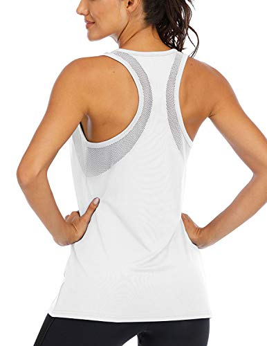 ICTIVE Workout Tank Tops for Women Loose fit Yoga Tops for Women Mesh Racerback Tank Tops Open Back Muscle Tank Workout Tops for Women Running Tank Tops Activewear Gym Tops White M