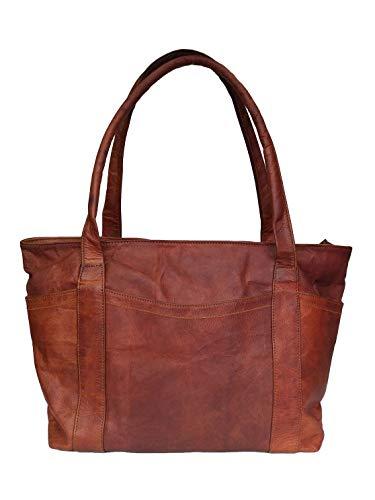 Mad Over Shopping Womens Schulter Handtasche aus echtem braun Leder Damen Tote alltäglichen Geldbeutel Shopper Tasche