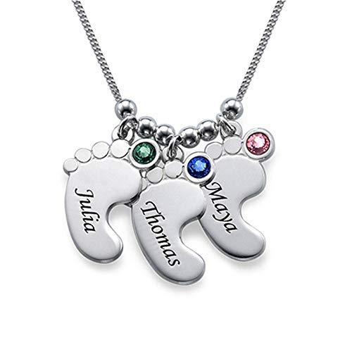 Collar familiar personalizado Collar con nombre de mujer Nombre grabado y colgante de pie con piedra natal para mamá(Plata 16)