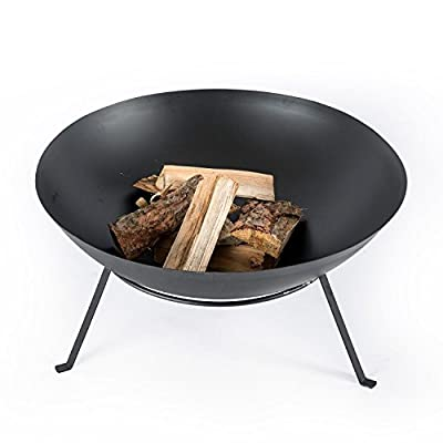 HOMESCAPES Metal Fire Bowl on Legs Black Round Fire Pit For Log Burning Suitable for Outdoor use, 60 cm Diameter by Homescapes