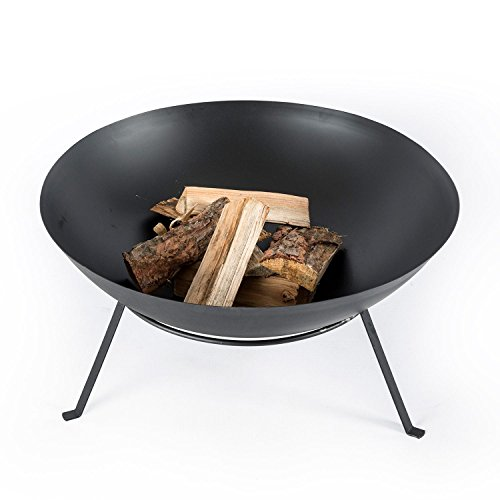 Homescapes Metal Fire Bowl on Legs Black Round Fire Pit For Log Burning Suitable for Outdoor use, 60 cm Diameter