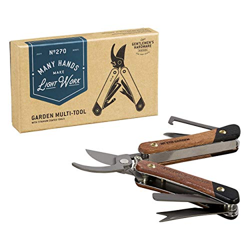 Gentlemen's Hardware 7-in-1 Garden Multi-Tool with Stainless Steel Tools and Wood Handles