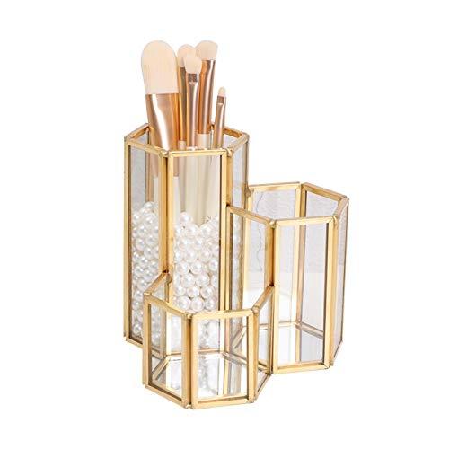 Niazi Organizador de brochas de maquillaje dorado con 3 tubos de cobre vintage hechos a mano para lápices cosméticos
