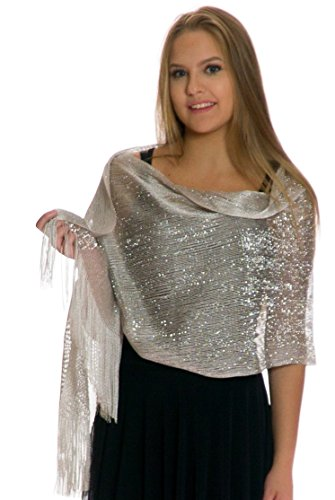 Shawls and Wraps for Evening Dresses, Wedding Shawl Wrap Fringes Scarf for Women Silver