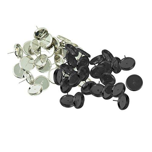 chiwanji 48pcs Pendientes de Botón de Oreja Espacios en Blanco Bisel Fabricación de Hallazgos
